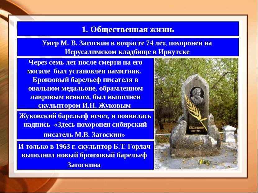 1. Общественная жизнь Умер М. В. Загоскин в возрасте 74 лет, похоронен на Иер...