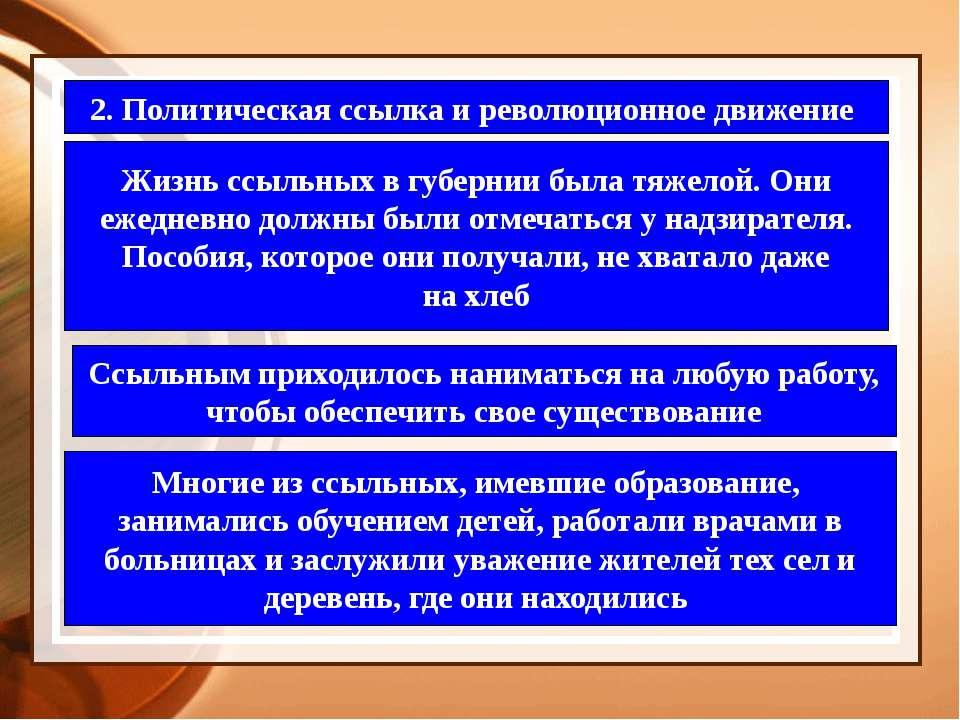 2. Политическая ссылка и революционное движение Жизнь ссыльных в губернии был...