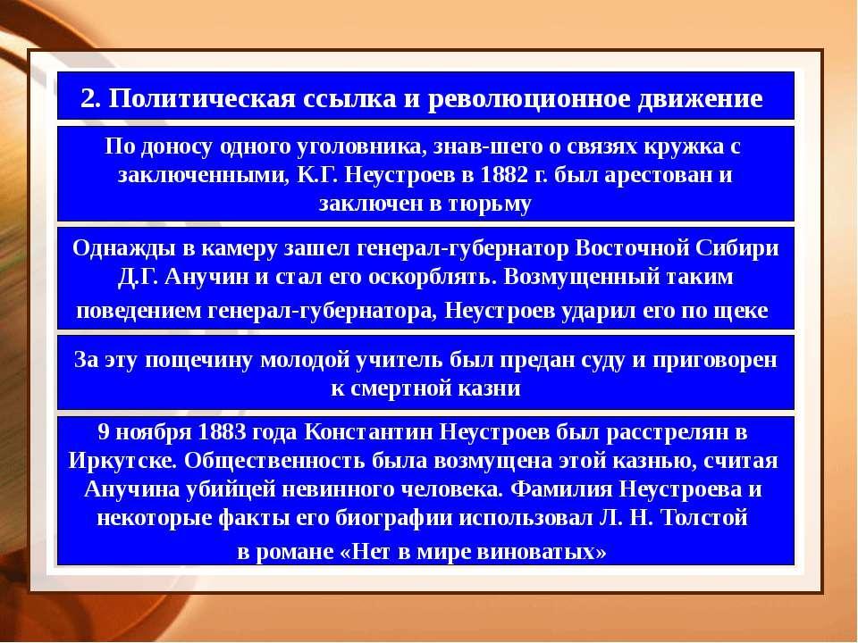 2. Политическая ссылка и революционное движение По доносу одного уголовника, ...