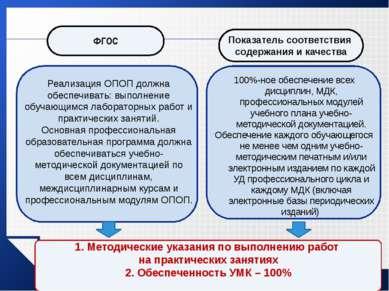 Реализация ОПОП должна обеспечивать: выполнение обучающимся лабораторных рабо...
