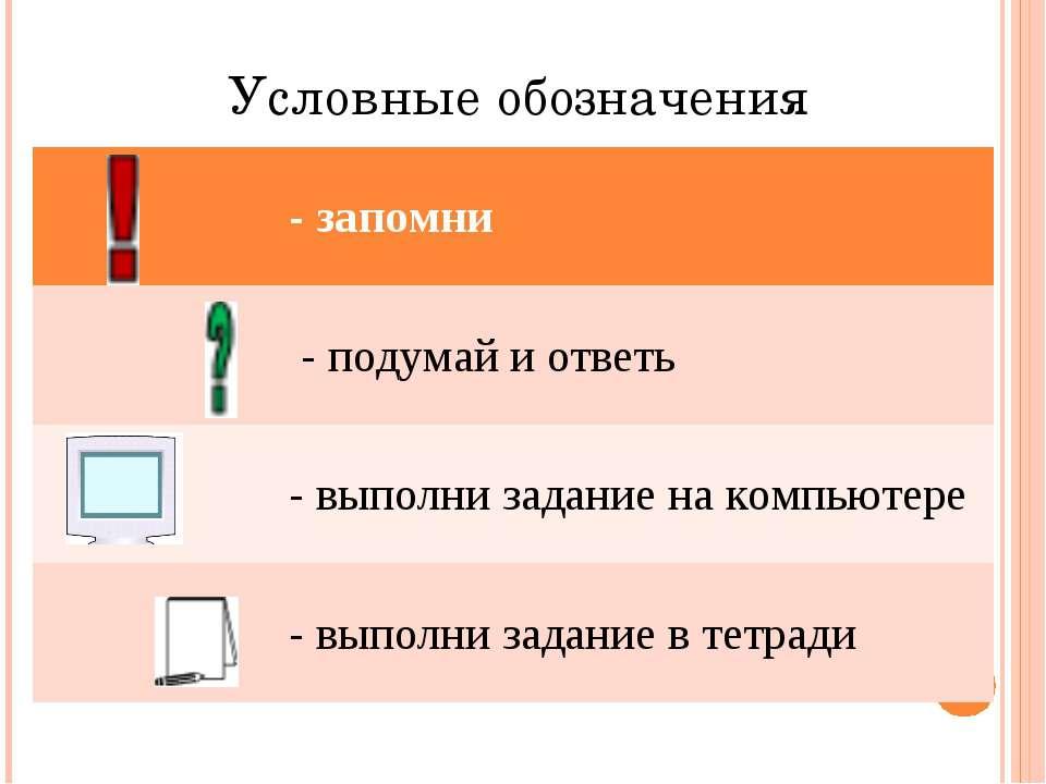 Условные обозначения - запомни - подумай и ответь - выполни задание на компью...