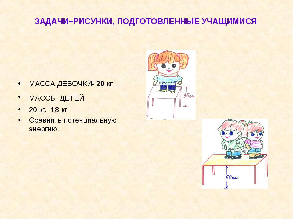 ЗАДАЧИ–РИСУНКИ, ПОДГОТОВЛЕННЫЕ УЧАЩИМИСЯ МАССА ДЕВОЧКИ- 20 кг МАССЫ ДЕТЕЙ: 20...