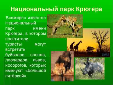 Национальный парк Крюгера Всемирно известен Национальный парк имени Крюгера, ...