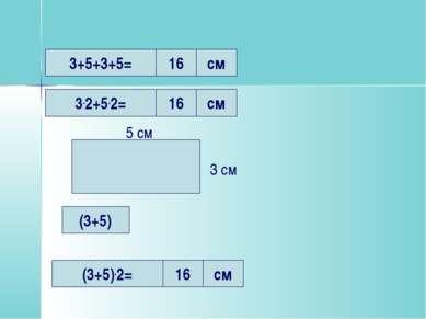 3+5+3+5= 3.2+5.2= 16 см 16 см (3+5).2= 16 см 5 см 3 см (3+5)