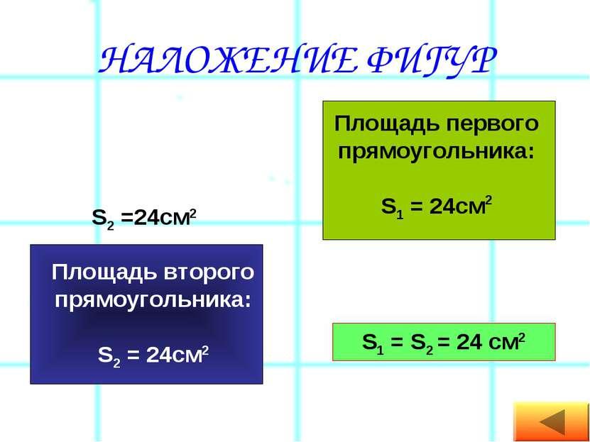 НАЛОЖЕНИЕ ФИГУР Площадь первого прямоугольника: S1 = 24см2 S2 =24см2 S1 = S2 ...