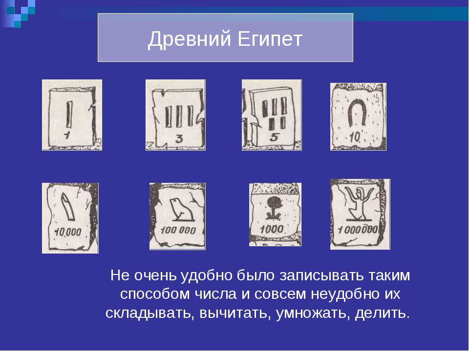 Древний Египет Не очень удобно было записывать таким способом числа и совсем ...