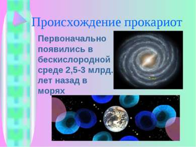 Происхождение прокариот Первоначально появились в бескислородной среде 2,5-3 ...