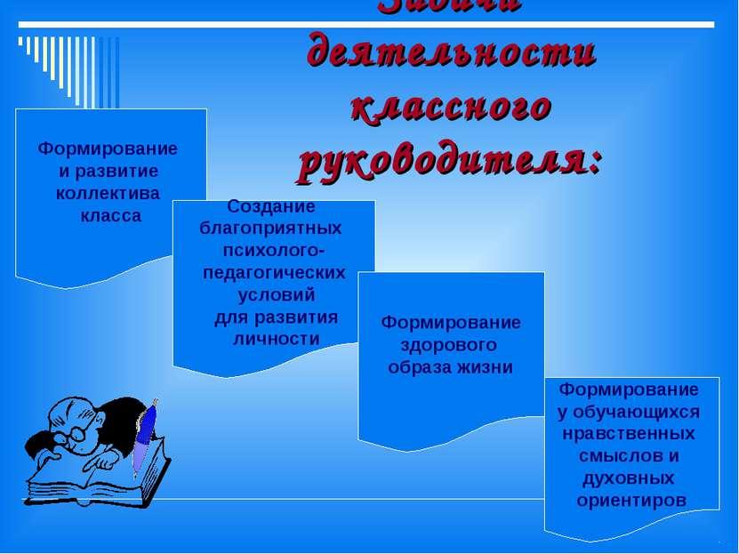 Задачи деятельности классного руководителя: Формирование и развитие коллектив...