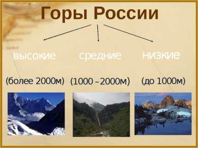 Горы России высокие средние низкие (более 2000м) (1000 –2000м) (до 1000м)