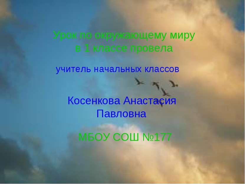 Урок по окружающему миру в 1 классе провела Косенкова Анастасия Павловна МБОУ...