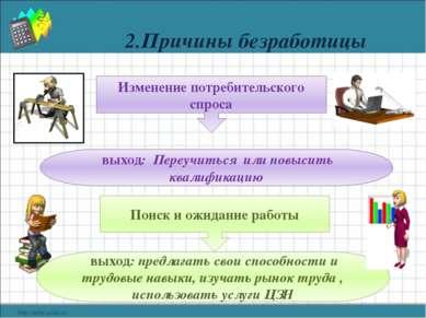 2.Причины безработицы Изменение потребительского спроса выход: Переучиться ил...