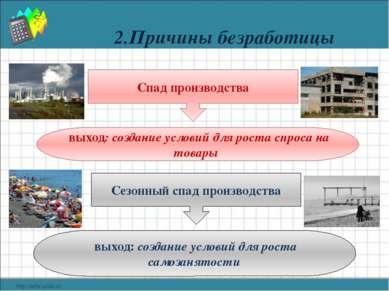 2.Причины безработицы Спад производства выход: создание условий для роста спр...