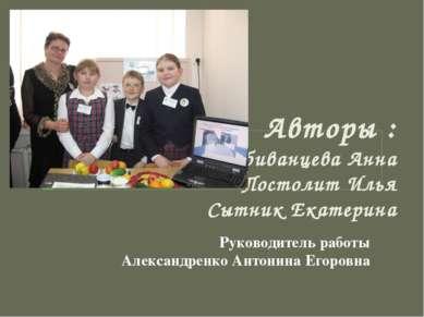 Авторы : Побиванцева Анна Постолит Илья Сытник Екатерина Руководитель работы ...