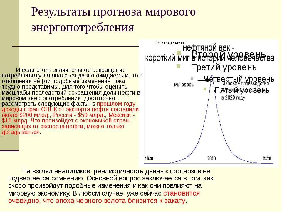 Результаты прогноза мирового энергопотребления На взгляд аналитиков реалистич...