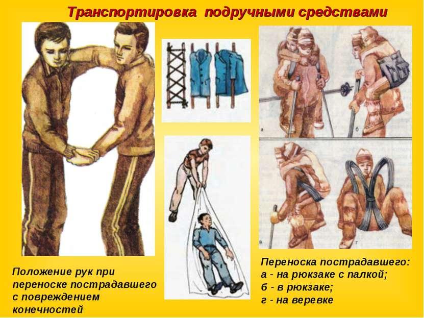 Переноска пострадавшего: а - на рюкзаке с палкой; б - в рюкзаке; г - на верев...