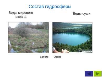 Озеро Болото Воды мирового океана Воды суши Состав гидросферы