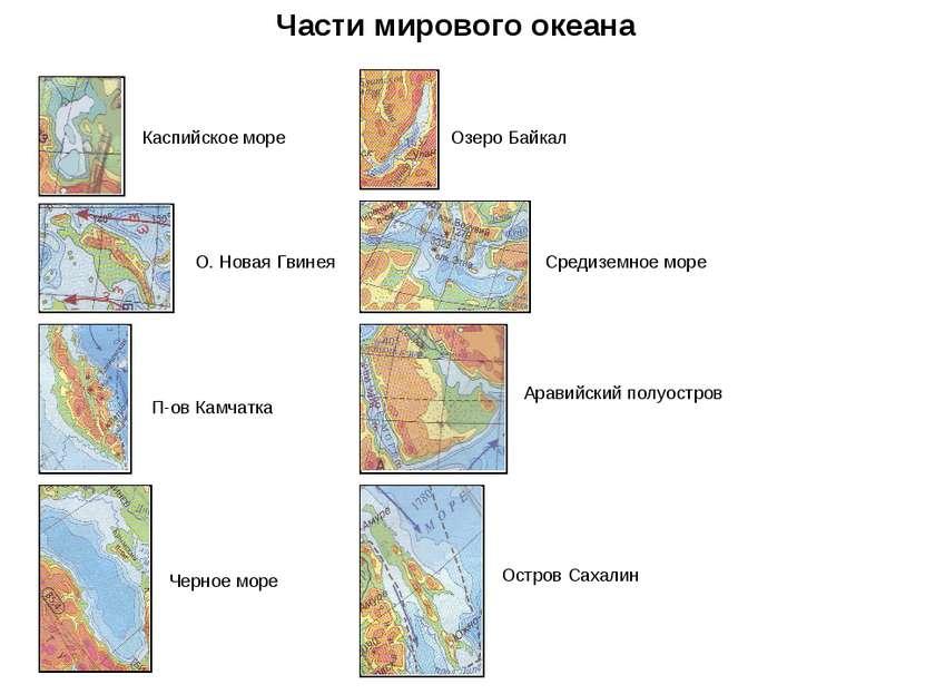 Части мирового океана Каспийское море О. Новая Гвинея П-ов Камчатка Черное мо...
