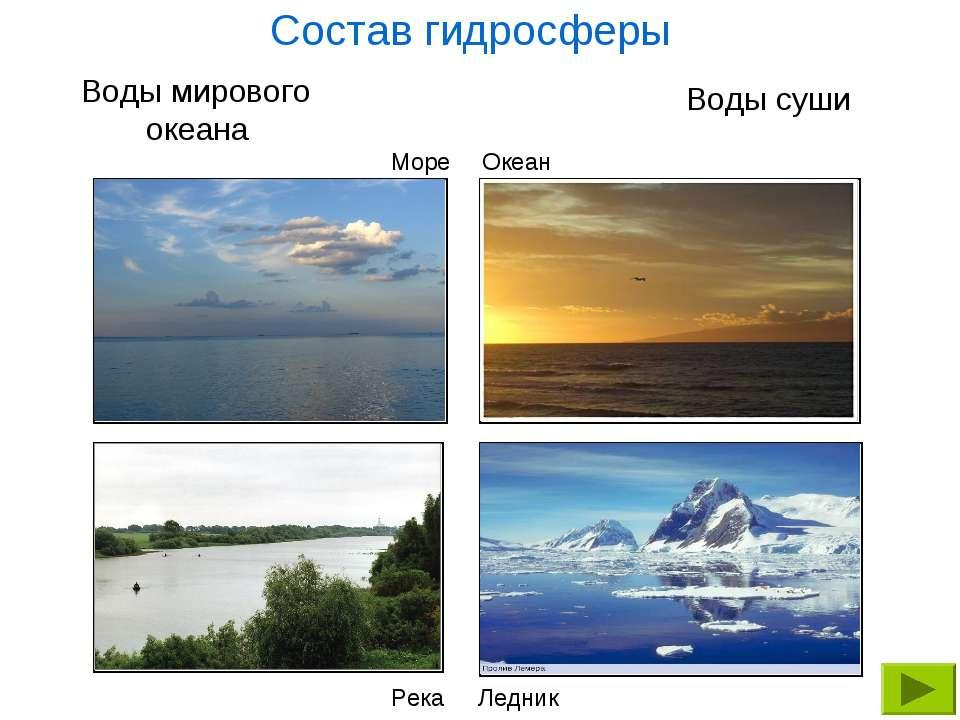 Воды мирового океана Воды суши Море Океан Состав гидросферы Река Ледник