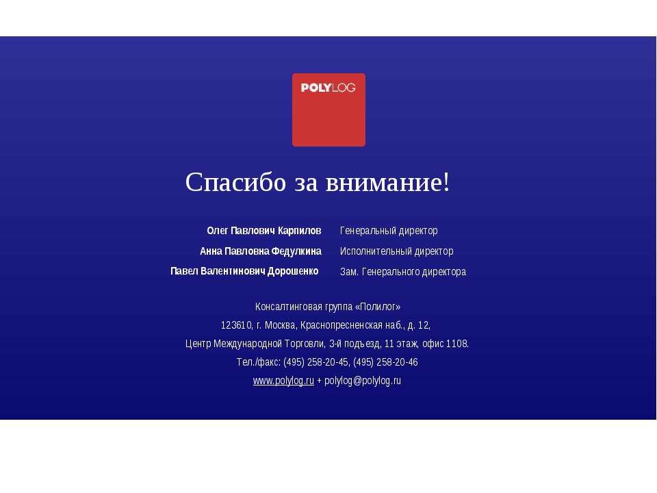 Спасибо за внимание! Консалтинговая группа «Полилог» 123610, г. Москва, Красн...