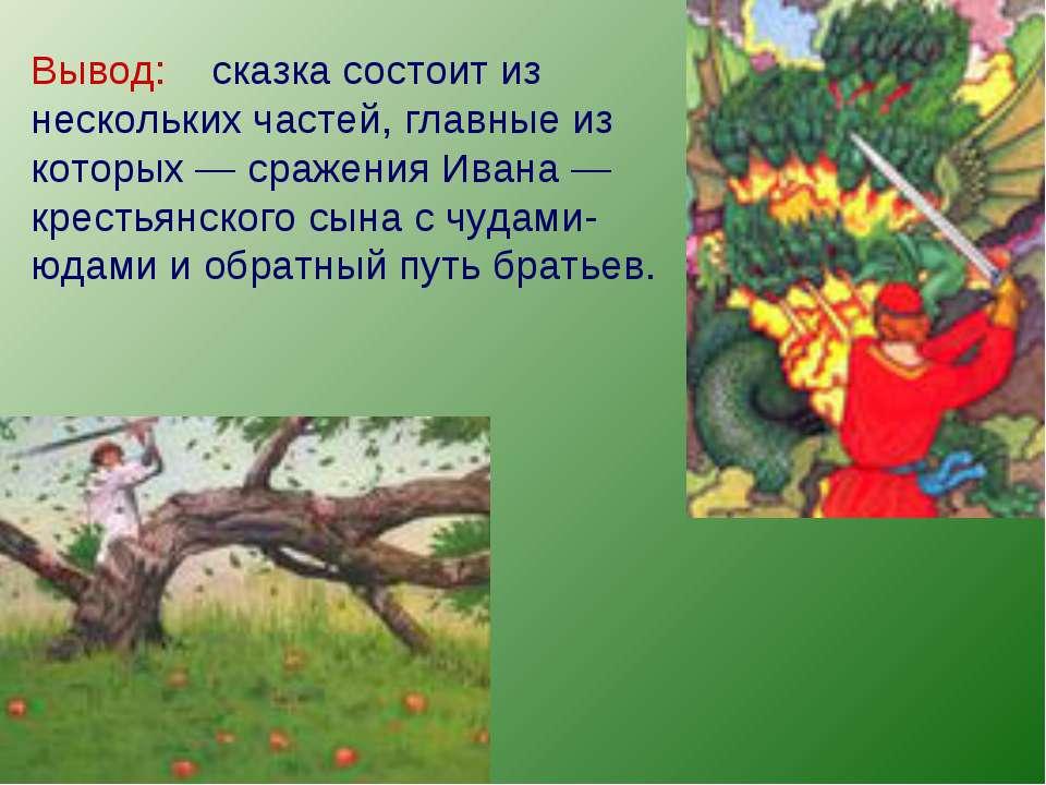 Вывод: сказка состоит из нескольких частей, главные из которых — сражения Ива...