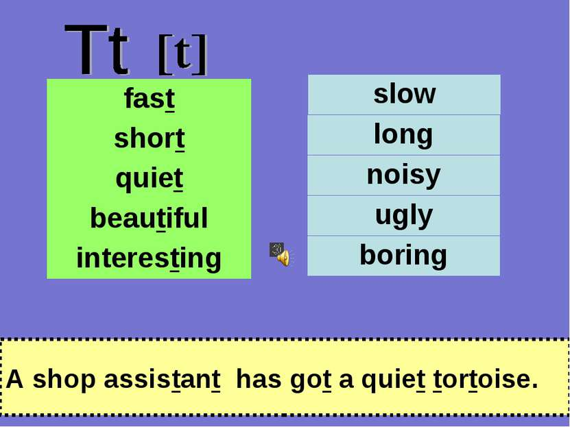 A shop assistant has got a quiet tortoise. fast short quiet beautiful interes...