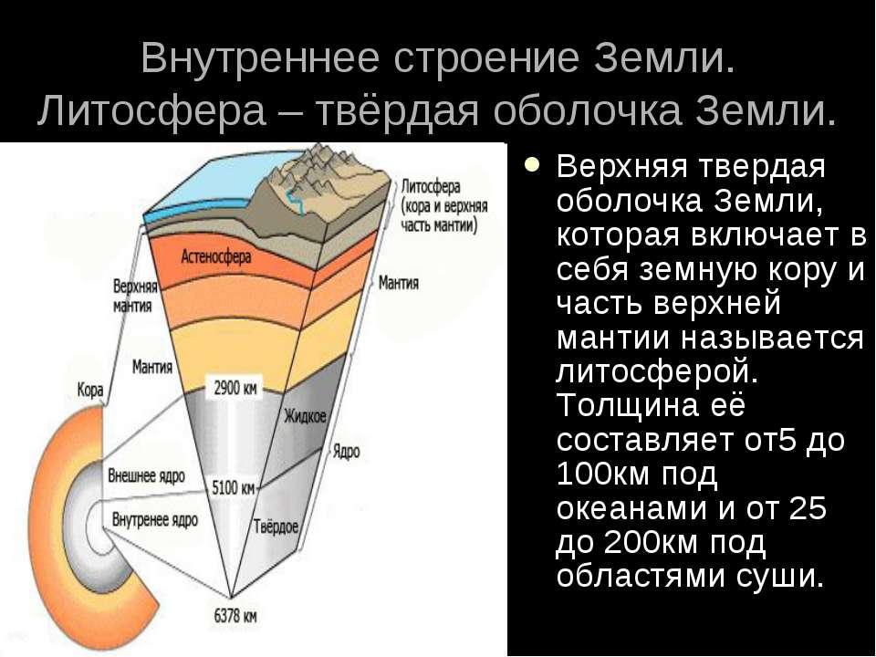 Внутреннее строение Земли. Литосфера – твёрдая оболочка Земли. Верхняя тверда...
