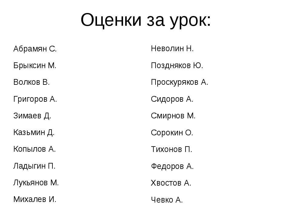 Оценки за урок: Абрамян С. Брыксин М. Волков В. Григоров А. Зимаев Д. Казьмин...