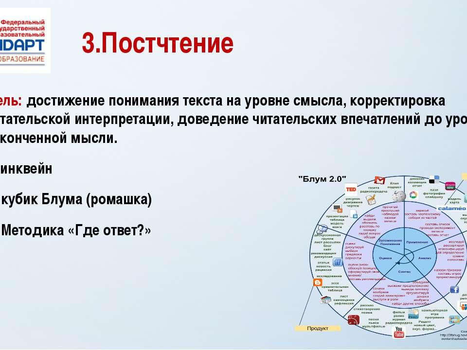 3.Постчтение Цель: достижение понимания текста на уровне смысла, корректировк...