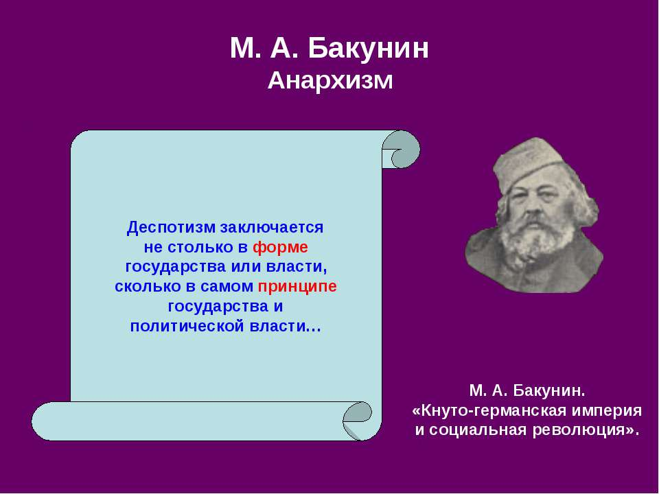 М. А.Бакунин Анархизм Деспотизм заключается не столько в форме государства и...
