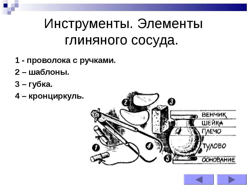 Инструменты. Элементы глиняного сосуда. 1 - проволока с ручками. 2 – шаблоны....