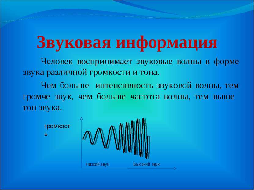 Звуковая информация Человек воспринимает звуковые волны в форме звука различн...