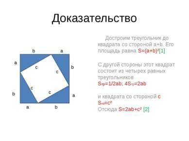 Доказательство Достроим треугольник до квадрата со стороной a+b. Его площадь ...