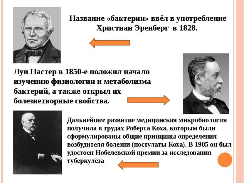 Название «бактерии» ввёл в употребление Христиан Эренберг в 1828. Луи Пастер ...