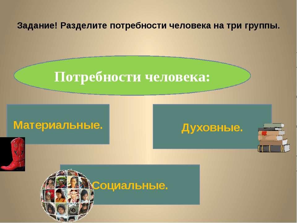Задание! Разделите потребности человека на три группы. Потребности человека: ...