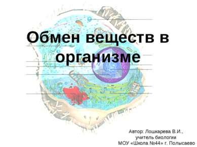 Обмен веществ в организме Автор: Лошкарева В.И., учитель биологии МОУ «Школа ...