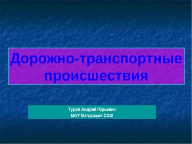 Дорожно-транспортные происшествия Туров Андрей Юрьевич МОУ Матырская СОШ