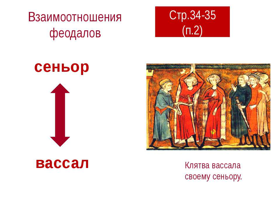 Взаимоотношения феодалов Клятва вассала своему сеньору. сеньор вассал Стр.34-...