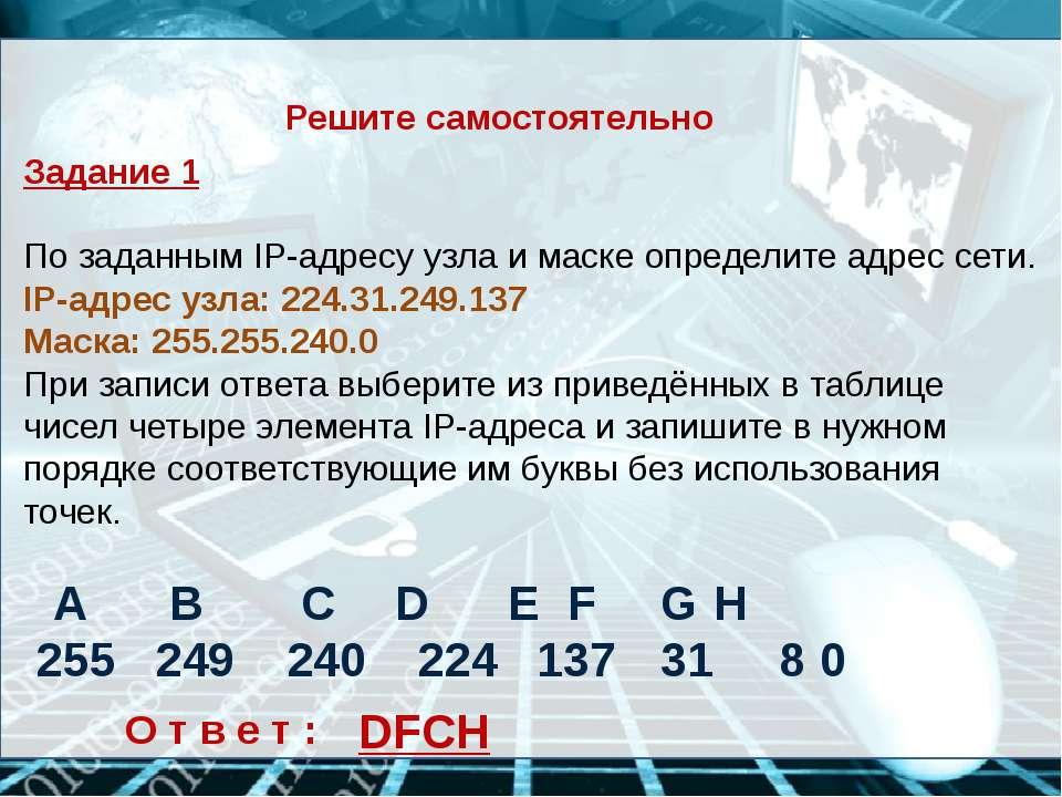 Решите самостоятельно Задание 1 По заданным IP-адресу узла и маске определите...