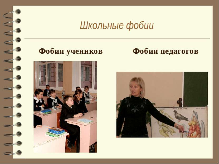 Школьные фобии Фобии учеников Фобии педагогов
