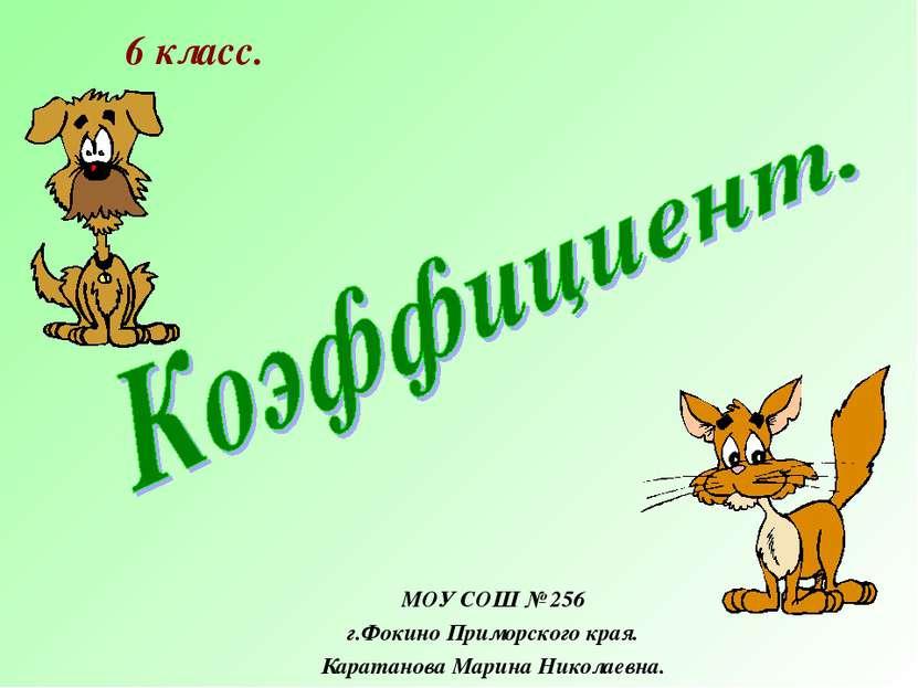 МОУ СОШ № 256 г.Фокино Приморского края. Каратанова Марина Николаевна. 6 класс.