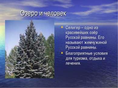 Озеро и человек Селигер – одно из красивейших озёр Русской равнины. Его назыв...