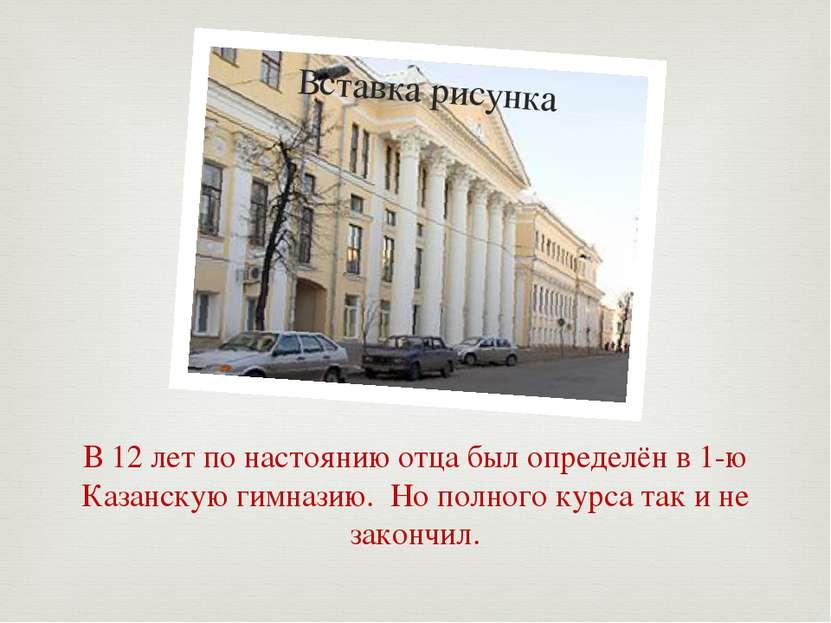В 12 лет по настоянию отца был определён в 1-ю Казанскую гимназию. Но полного...