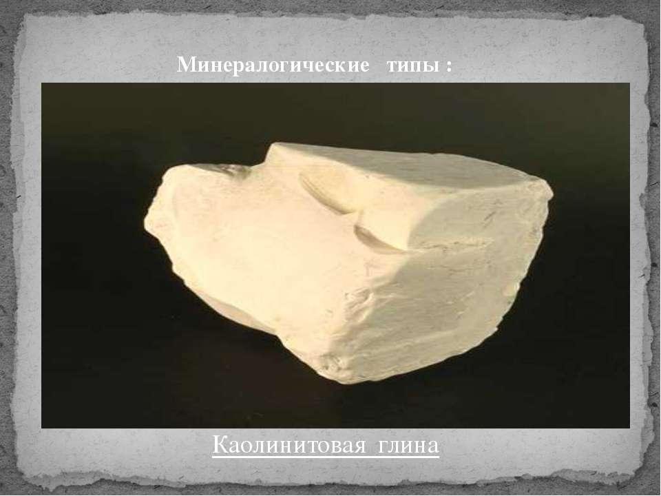 Минералогические типы : Каолинитовая глина