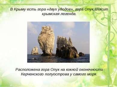 В Крыму есть гора «двух удодов», гора Опук,гласит крымская легенда. Расположе...