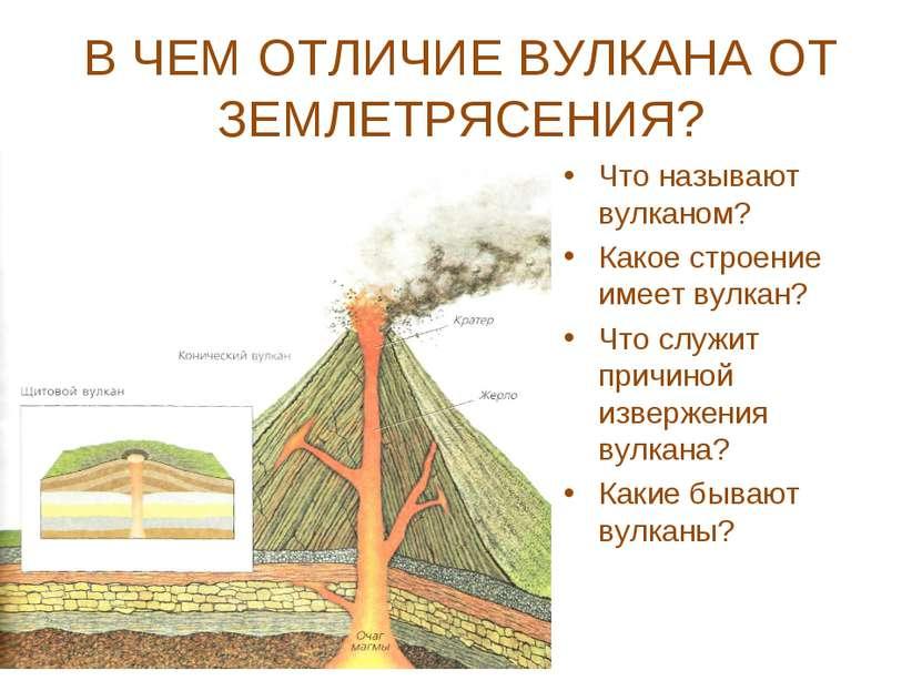 В ЧЕМ ОТЛИЧИЕ ВУЛКАНА ОТ ЗЕМЛЕТРЯСЕНИЯ? Что называют вулканом? Какое строение...