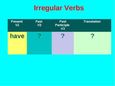 Irregular Verbs Present V1 Past V2 Past Participle V3 Translation have ? ? ?