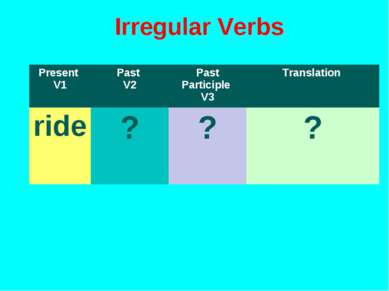 Irregular Verbs Present V1 Past V2 Past Participle V3 Translation ride ? ? ?
