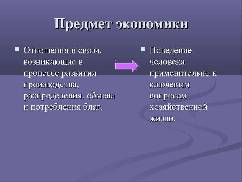 Предмет экономики Отношения и связи, возникающие в процессе развития производ...