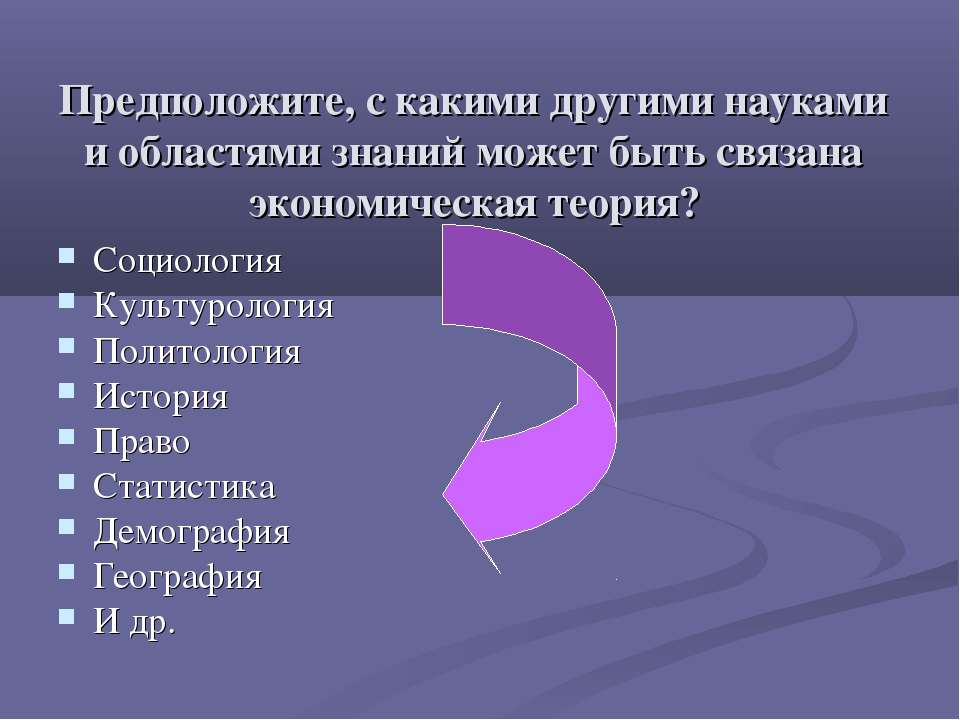 Предположите, с какими другими науками и областями знаний может быть связана ...