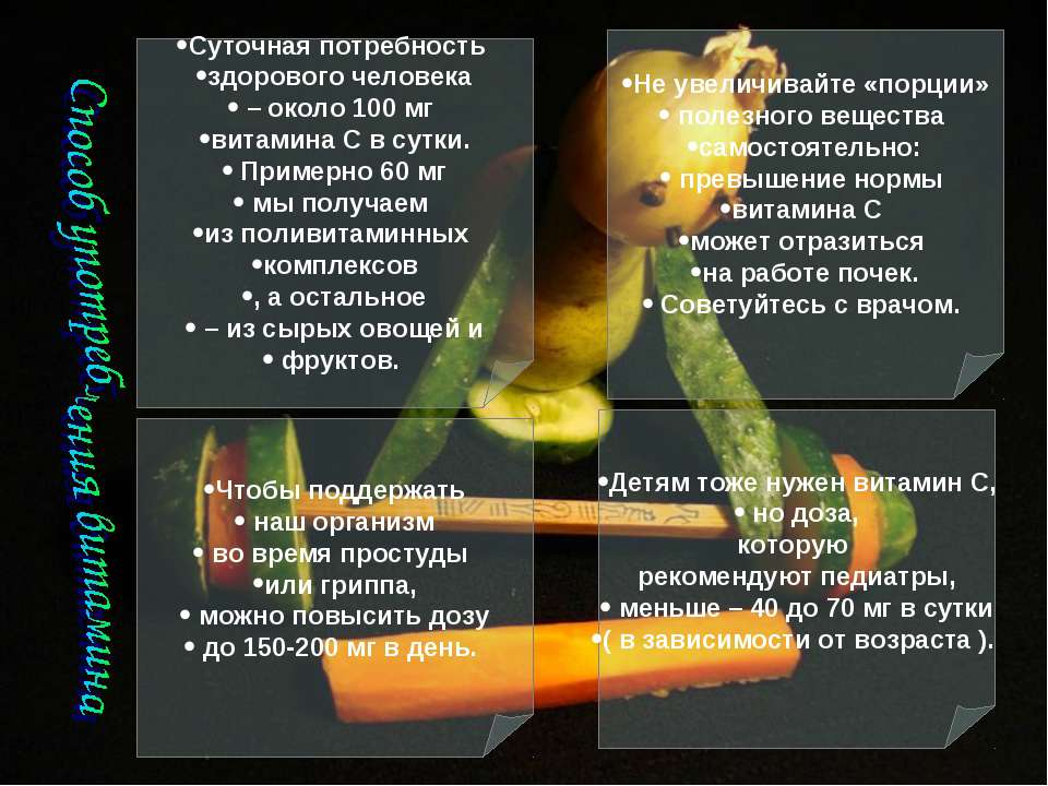 Суточная потребность здорового человека – около 100 мг витамина С в сутки. Пр...